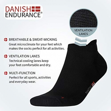 DANISH ENDURANCE Low-Cut Sportsocken (Schwarz – 3 Paare, EU 39-42) - 4